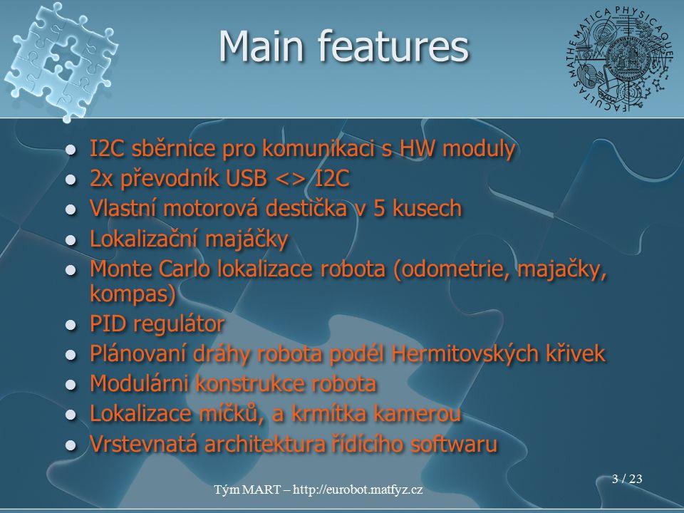 Tým MART – http://eurobot.matfyz.cz 2 / 23 MART Robot Logion vzniknul přestavbou loňského modelu Základ Via Epia Mini ITX s 1.5Ghz, 512Mb RAM, 2GB Compact flash Gentoo Linux, C/C++ Robot Logion vzniknul přestavbou loňského modelu Základ Via Epia Mini ITX s 1.5Ghz, 512Mb RAM, 2GB Compact flash Gentoo Linux, C/C++