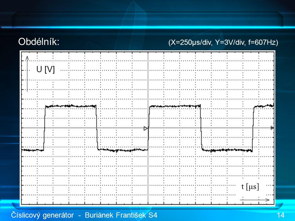 Obdélník: (X=250μs/div, Y=3V/div, f=607Hz) U [V] t [μs] Číslicový generátor - Buriánek František S414