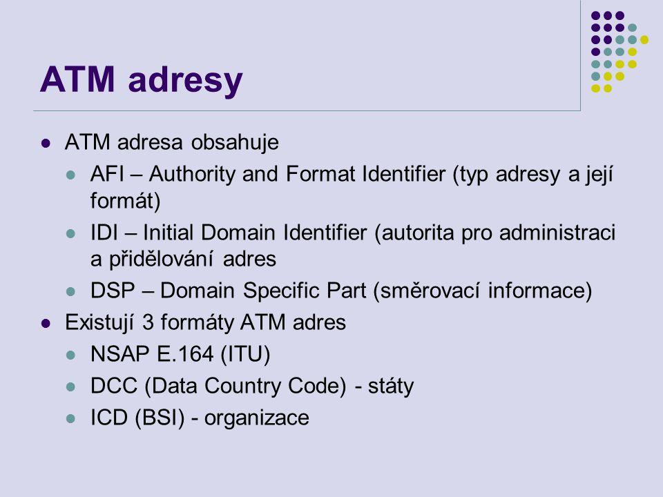ATM adresy ATM adresa obsahuje AFI – Authority and Format Identifier (typ adresy a její formát) IDI – Initial Domain Identifier (autorita pro administraci a přidělování adres DSP – Domain Specific Part (směrovací informace) Existují 3 formáty ATM adres NSAP E.164 (ITU) DCC (Data Country Code) - státy ICD (BSI) - organizace
