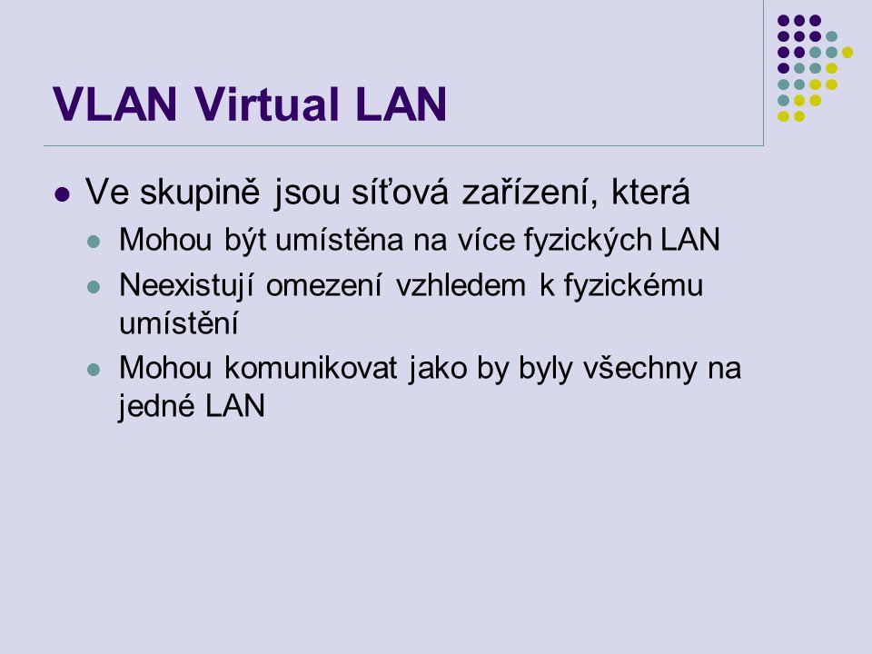 VLAN Virtual LAN Ve skupině jsou síťová zařízení, která Mohou být umístěna na více fyzických LAN Neexistují omezení vzhledem k fyzickému umístění Mohou komunikovat jako by byly všechny na jedné LAN