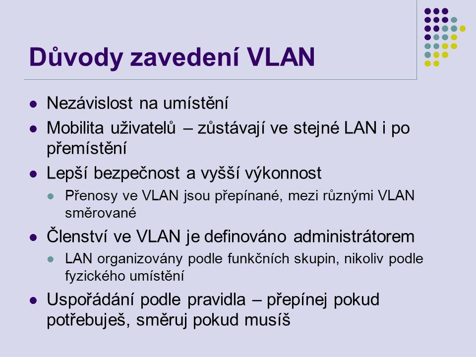 Důvody zavedení VLAN Nezávislost na umístění Mobilita uživatelů – zůstávají ve stejné LAN i po přemístění Lepší bezpečnost a vyšší výkonnost Přenosy ve VLAN jsou přepínané, mezi různými VLAN směrované Členství ve VLAN je definováno administrátorem LAN organizovány podle funkčních skupin, nikoliv podle fyzického umístění Uspořádání podle pravidla – přepínej pokud potřebuješ, směruj pokud musíš