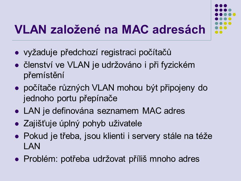 VLAN založené na MAC adresách vyžaduje předchozí registraci počítačů členství ve VLAN je udržováno i při fyzickém přemístění počítače různých VLAN mohou být připojeny do jednoho portu přepínače LAN je definována seznamem MAC adres Zajišťuje úplný pohyb uživatele Pokud je třeba, jsou klienti i servery stále na téže LAN Problém: potřeba udržovat příliš mnoho adres