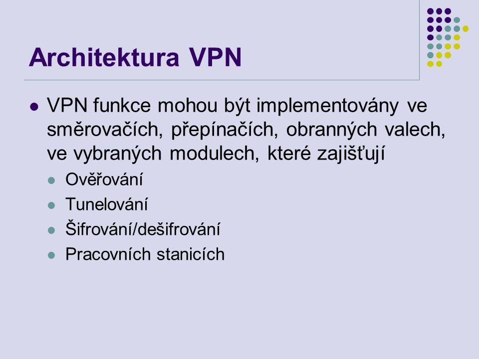 Architektura VPN VPN funkce mohou být implementovány ve směrovačích, přepínačích, obranných valech, ve vybraných modulech, které zajišťují Ověřování Tunelování Šifrování/dešifrování Pracovních stanicích