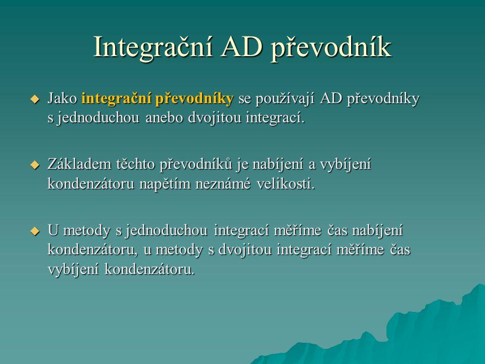 Integrační AD převodník  Jako integrační převodníky se používají AD převodníky s jednoduchou anebo dvojitou integrací.  Základem těchto převodníků j