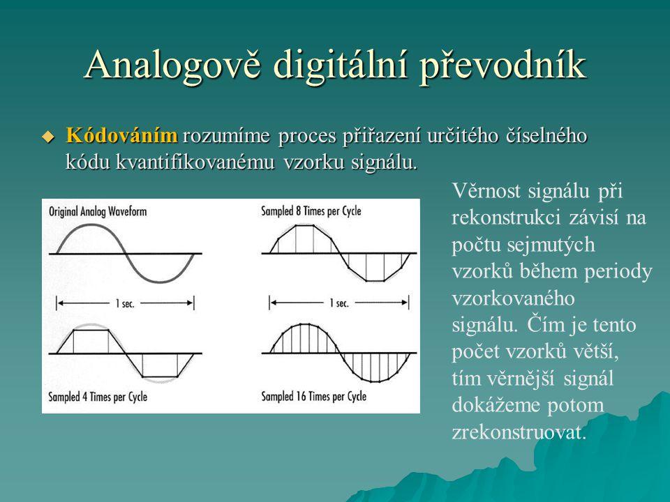 Analogově digitální převodník  Kódováním rozumíme proces přiřazení určitého číselného kódu kvantifikovanému vzorku signálu. Věrnost signálu při rekon