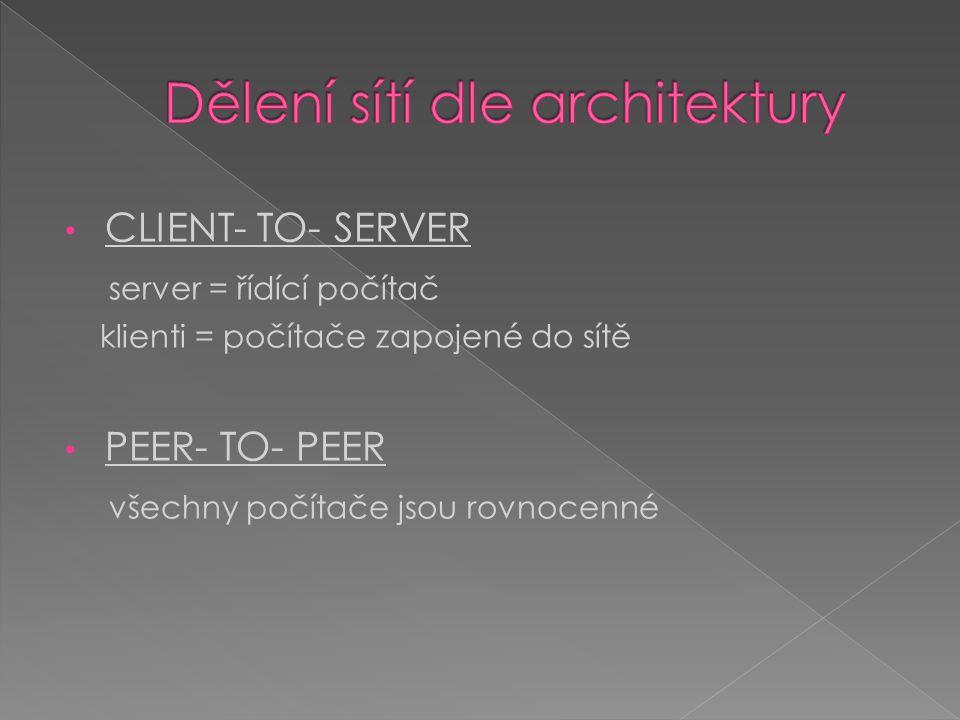 CLIENT- TO- SERVER server = řídící počítač klienti = počítače zapojené do sítě PEER- TO- PEER všechny počítače jsou rovnocenné