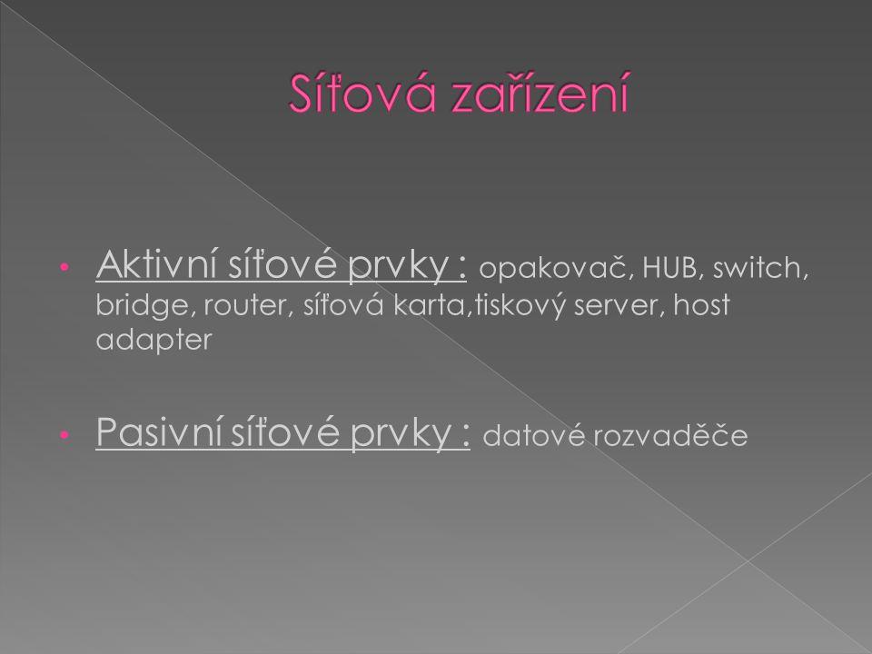 Aktivní síťové prvky : opakovač, HUB, switch, bridge, router, síťová karta,tiskový server, host adapter Pasivní síťové prvky : datové rozvaděče