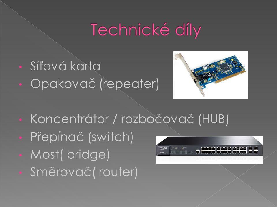 Síťová karta Opakovač (repeater) Koncentrátor / rozbočovač (HUB) Přepínač (switch) Most( bridge) Směrovač( router)