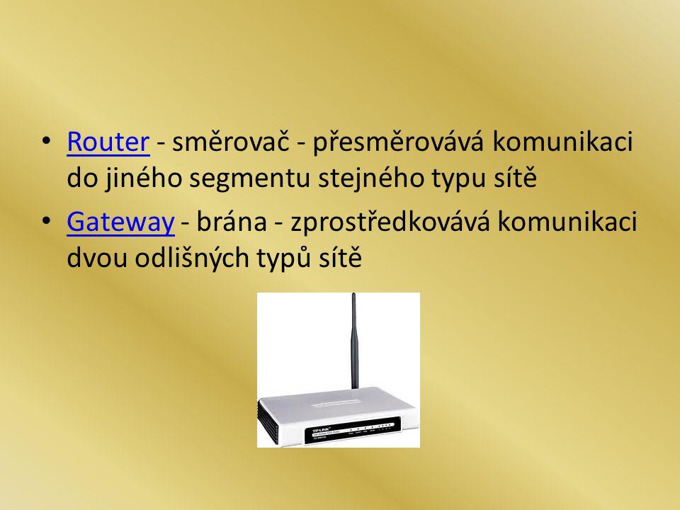 Router - směrovač - přesměrovává komunikaci do jiného segmentu stejného typu sítě Router Gateway - brána - zprostředkovává komunikaci dvou odlišných t