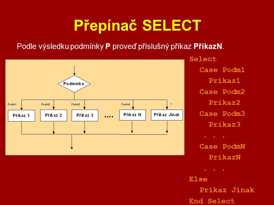 Přepínač SELECT Podle výsledku podmínky P proveď příslušný příkaz PříkazN. Select Case Podm1 Prikaz1 Case Podm2 Prikaz2 Case Podm3 Prikaz3... Case Pod