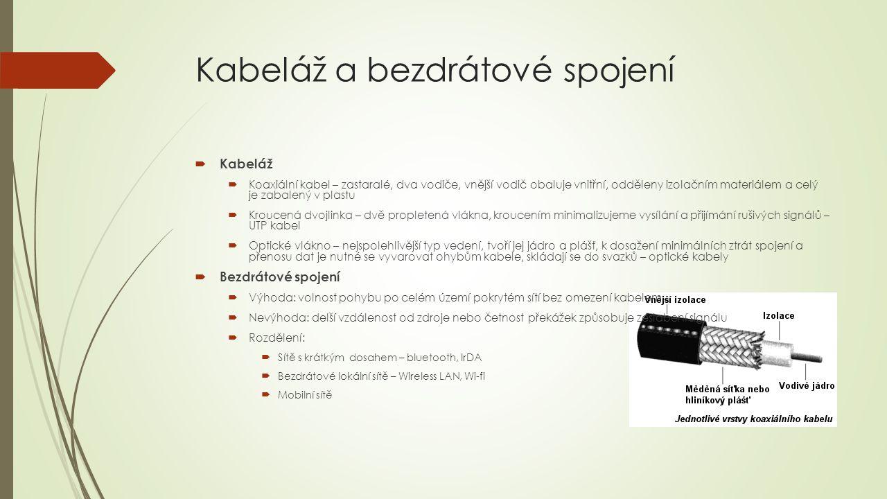 Kabeláž a bezdrátové spojení  Kabeláž  Koaxiální kabel – zastaralé, dva vodiče, vnější vodič obaluje vnitřní, odděleny izolačním materiálem a celý j