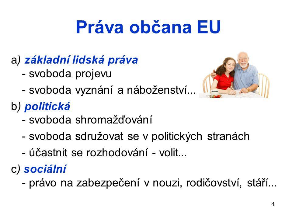 4 Práva občana EU a) základní lidská práva - svoboda projevu - svoboda vyznání a náboženství... b) politická - svoboda shromažďování - svoboda sdružov