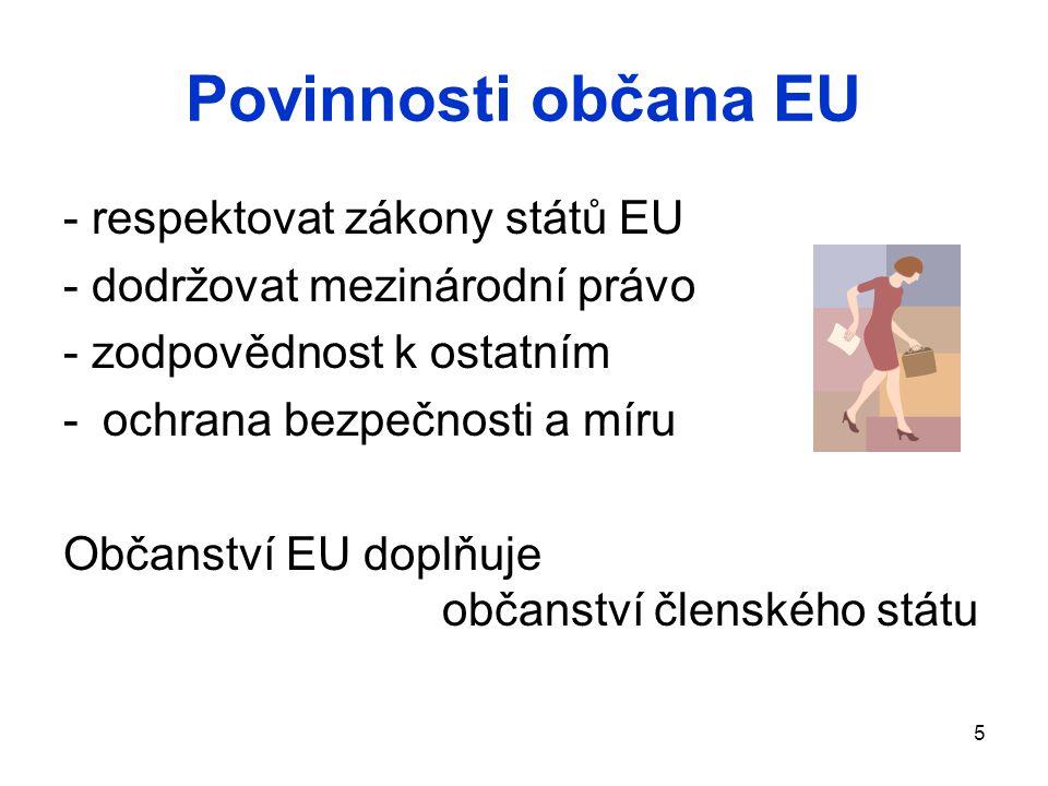 5 Povinnosti občana EU - respektovat zákony států EU - dodržovat mezinárodní právo - zodpovědnost k ostatním -ochrana bezpečnosti a míru Občanství EU