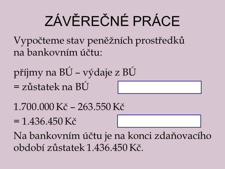ZÁVĚREČNÉ PRÁCE Vypočteme stav peněžních prostředků na bankovním účtu: příjmy na BÚ – výdaje z BÚ = zůstatek na BÚ 1.700.000 Kč – 263.550 Kč = 1.436.450 Kč Na bankovním účtu je na konci zdaňovacího období zůstatek 1.436.450 Kč.