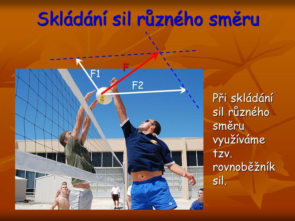 Skládání sil různého směru Při skládání sil různého směru využíváme tzv. rovnoběžník sil. F1 F2 F