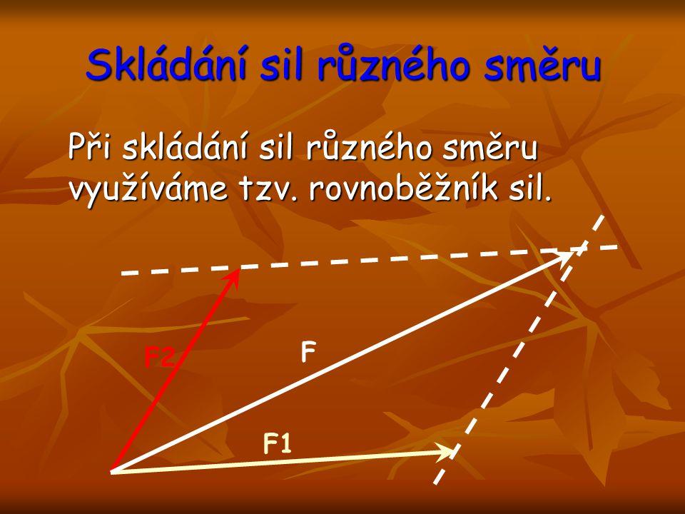 Rovnováha sil Aby byly síly v rovnováze, pak musí: a) působit na stejné těleso, b) být opačného směru, c) mít stejnou velikost.