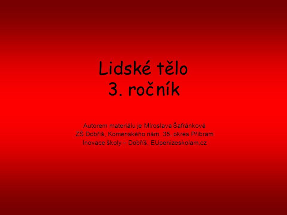 Lidské tělo 3. ročník Autorem materiálu je Miroslava Šafránková ZŠ Dobříš, Komenského nám. 35, okres Příbram Inovace školy – Dobříš, EUpenizeskolam.cz