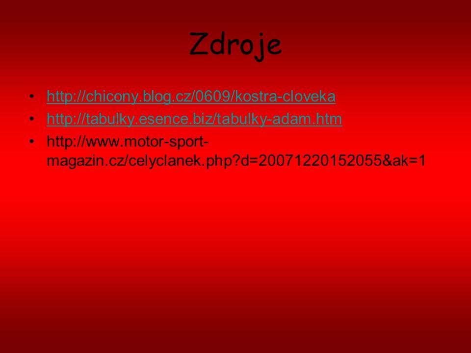Zdroje http://chicony.blog.cz/0609/kostra-cloveka http://tabulky.esence.biz/tabulky-adam.htm http://www.motor-sport- magazin.cz/celyclanek.php?d=20071