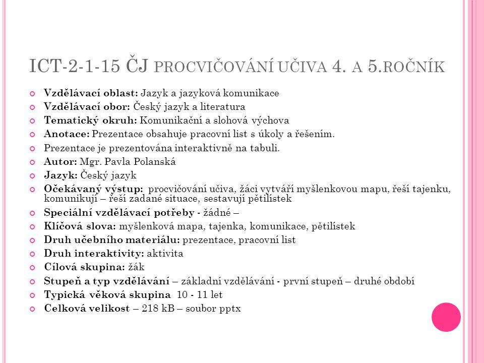 ICT-2-1-15 ČJ PROCVIČOVÁNÍ UČIVA 4. A 5. ROČNÍK Vzdělávací oblast: Jazyk a jazyková komunikace Vzdělávací obor: Český jazyk a literatura Tematický okr