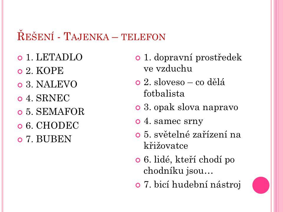 Ř EŠENÍ - T AJENKA – TELEFON 1. dopravní prostředek ve vzduchu 2. sloveso – co dělá fotbalista 3. opak slova napravo 4. samec srny 5. světelné zařízen