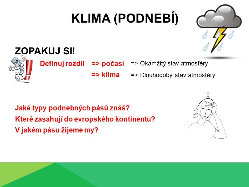 KLIMA (PODNEBÍ) ZOPAKUJ SI! Definuj rozdíl => počasí => klima Jaké typy podnebných pásů znáš? Které zasahují do evropského kontinentu? V jakém pásu ži
