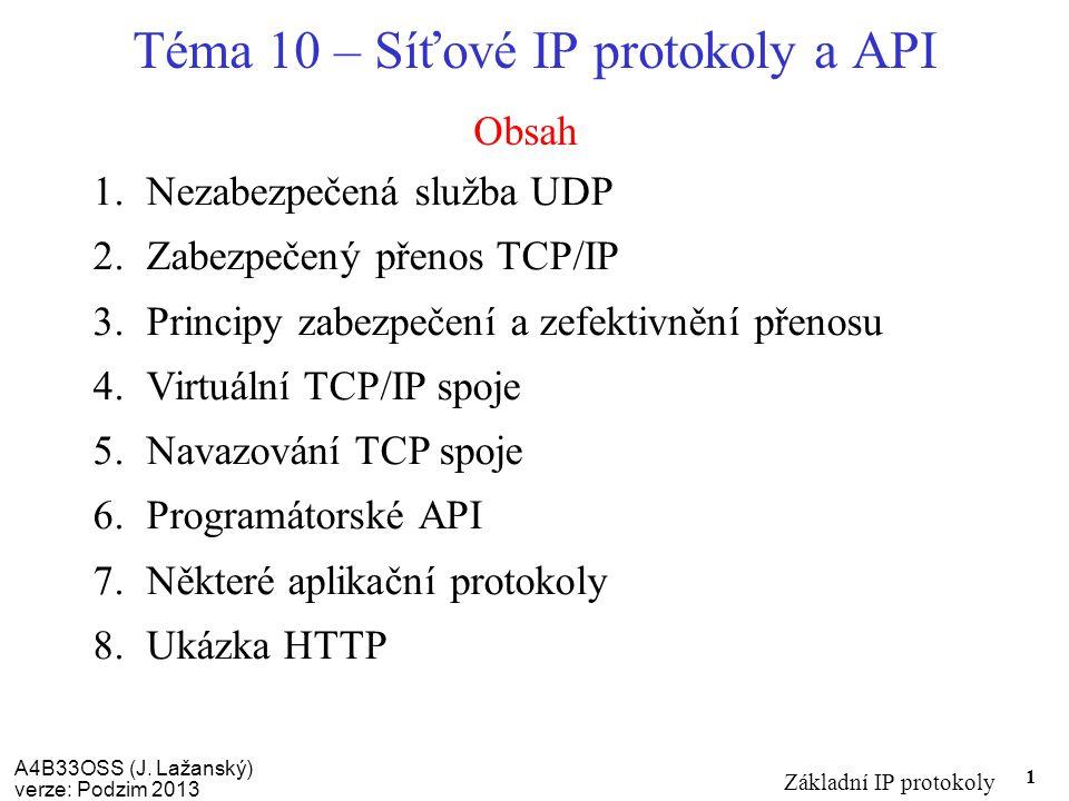 A4B33OSS (J. Lažanský) verze: Podzim 2013 Základní IP protokoly 1 Obsah Téma 10 – Síťové IP protokoly a API 1.Nezabezpečená služba UDP 2.Zabezpečený p