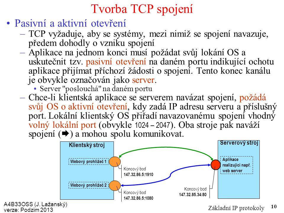 A4B33OSS (J. Lažanský) verze: Podzim 2013 Základní IP protokoly 10 Tvorba TCP spojení Pasivní a aktivní otevření –TCP vyžaduje, aby se systémy, mezi n