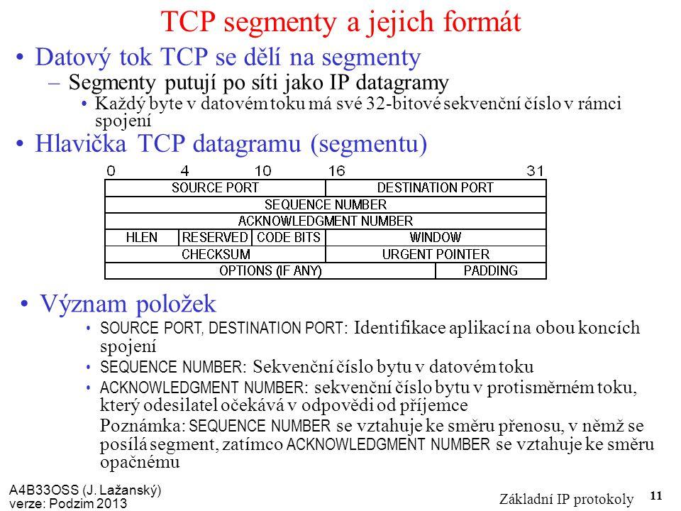 A4B33OSS (J. Lažanský) verze: Podzim 2013 Základní IP protokoly 11 TCP segmenty a jejich formát Datový tok TCP se dělí na segmenty –Segmenty putují po