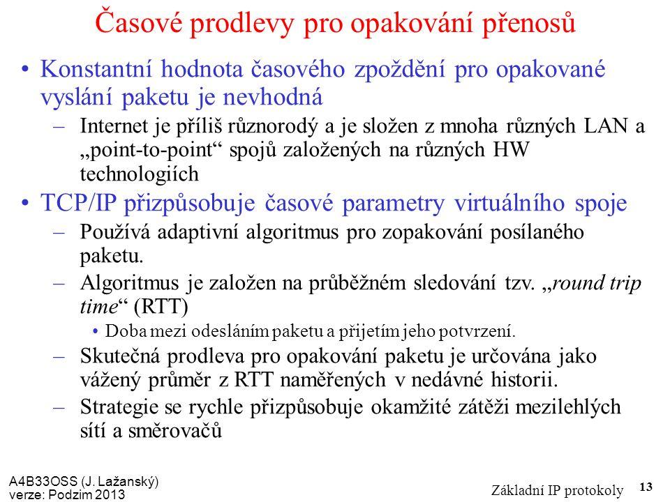 A4B33OSS (J. Lažanský) verze: Podzim 2013 Základní IP protokoly 13 Časové prodlevy pro opakování přenosů Konstantní hodnota časového zpoždění pro opak