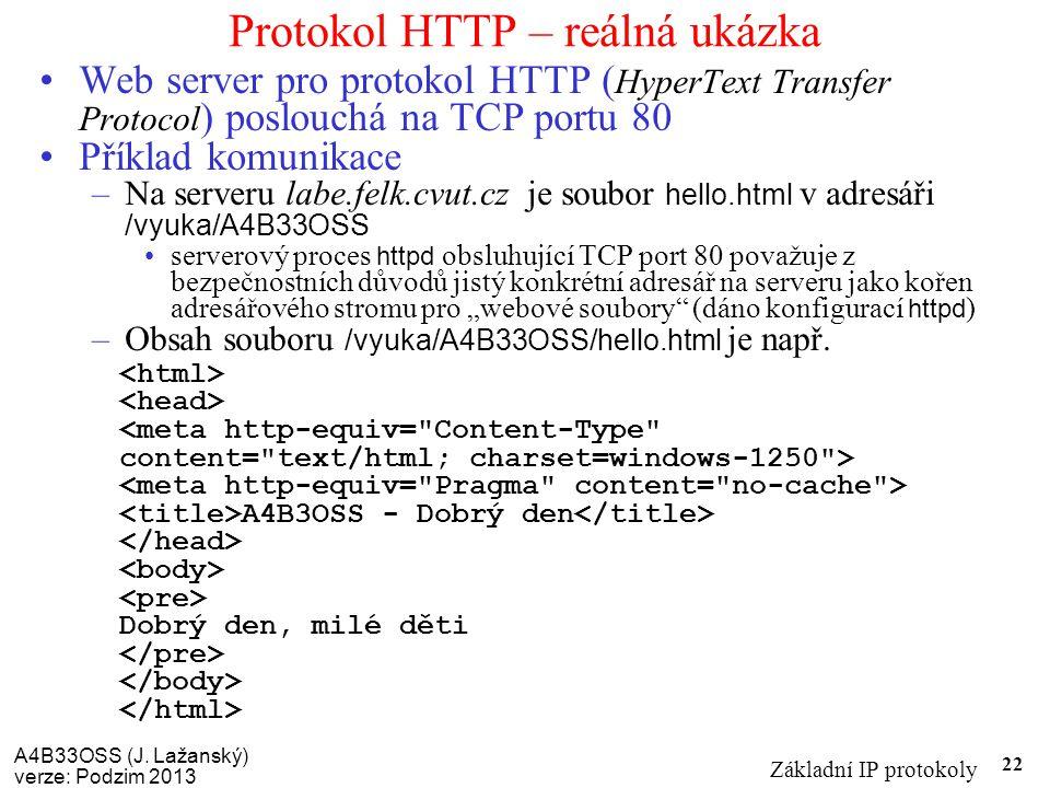 A4B33OSS (J. Lažanský) verze: Podzim 2013 Základní IP protokoly 22 Protokol HTTP – reálná ukázka Web server pro protokol HTTP ( HyperText Transfer Pro