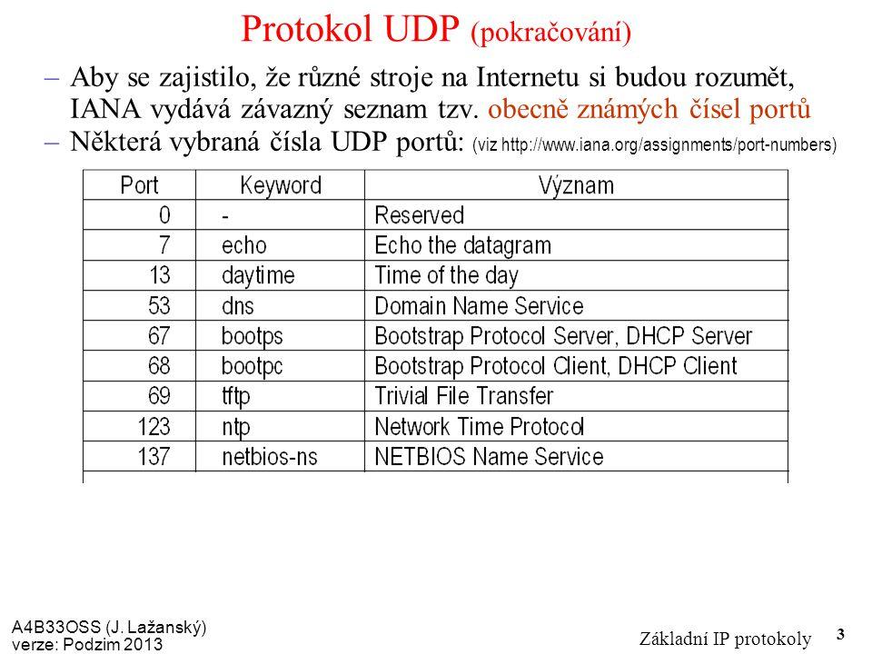 A4B33OSS (J. Lažanský) verze: Podzim 2013 Základní IP protokoly 3 Protokol UDP (pokračování) –Aby se zajistilo, že různé stroje na Internetu si budou