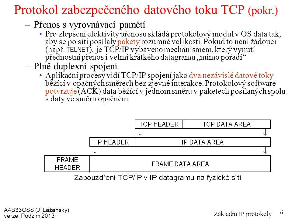 A4B33OSS (J. Lažanský) verze: Podzim 2013 Základní IP protokoly 6 Protokol zabezpečeného datového toku TCP (pokr.) –Přenos s vyrovnávací pamětí Pro zl