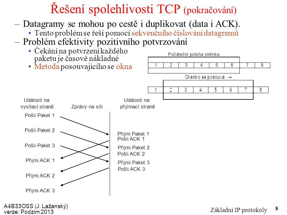 A4B33OSS (J. Lažanský) verze: Podzim 2013 Základní IP protokoly 8 Řešení spolehlivosti TCP (pokračování) –Datagramy se mohou po cestě i duplikovat (da
