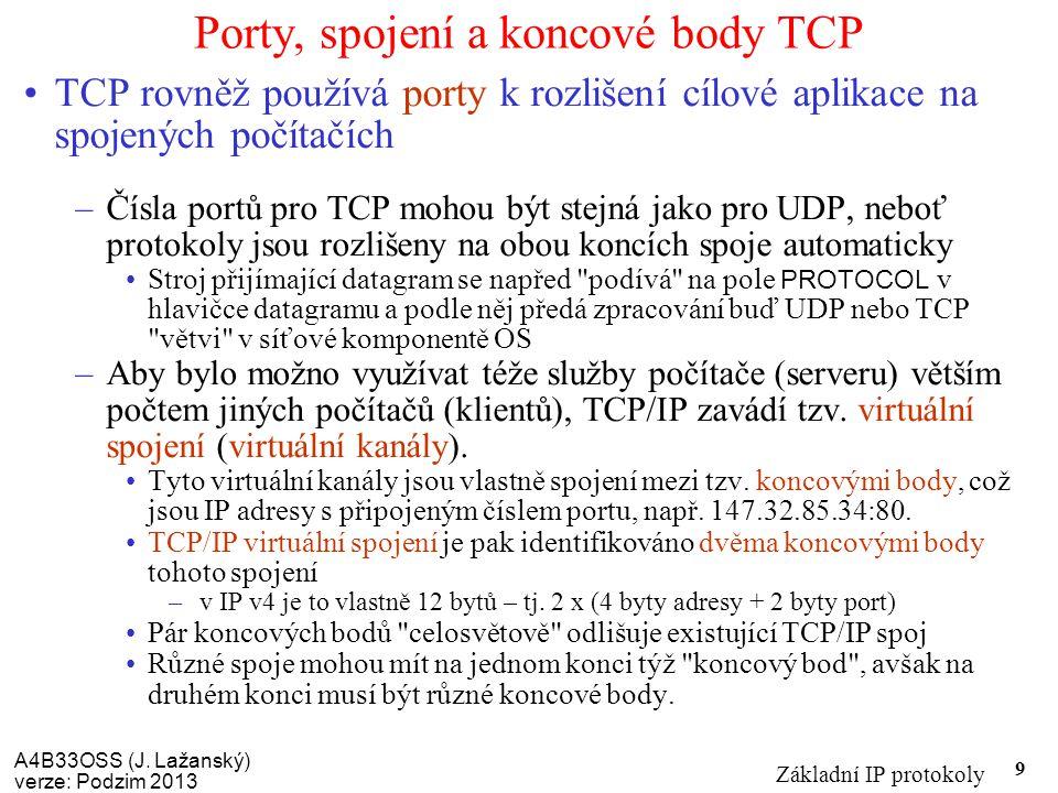 A4B33OSS (J. Lažanský) verze: Podzim 2013 Základní IP protokoly 9 Porty, spojení a koncové body TCP TCP rovněž používá porty k rozlišení cílové aplika