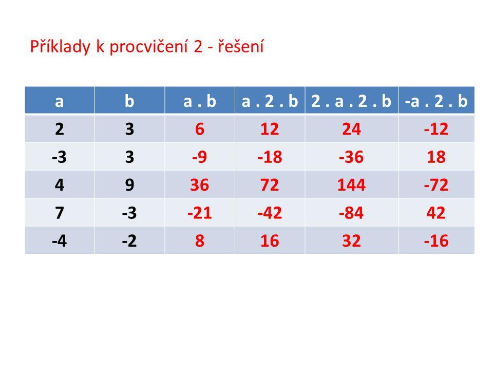 Příklady k procvičení 2 - řešení aba. ba. 2. b2.