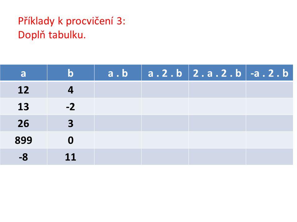 Příklady k procvičení 3: Doplň tabulku. aba. ba. 2. b2. a. 2. b-a. 2. b 124 13-2 263 8990 -811