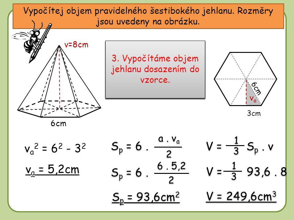 Vypočítej objem pravidelného šestibokého jehlanu. Rozměry jsou uvedeny na obrázku. 6cm v=8cm 6cm vava v a 2 = 6 2 - 3 2 v a = 5,2cm S p = 6. a. v a 2