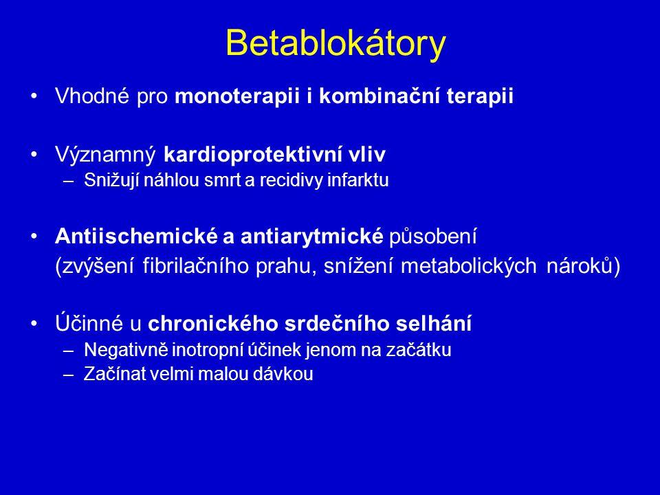 Betablokátory Vhodné pro monoterapii i kombinační terapii Významný kardioprotektivní vliv –Snižují náhlou smrt a recidivy infarktu Antiischemické a antiarytmické působení (zvýšení fibrilačního prahu, snížení metabolických nároků) Účinné u chronického srdečního selhání –Negativně inotropní účinek jenom na začátku –Začínat velmi malou dávkou
