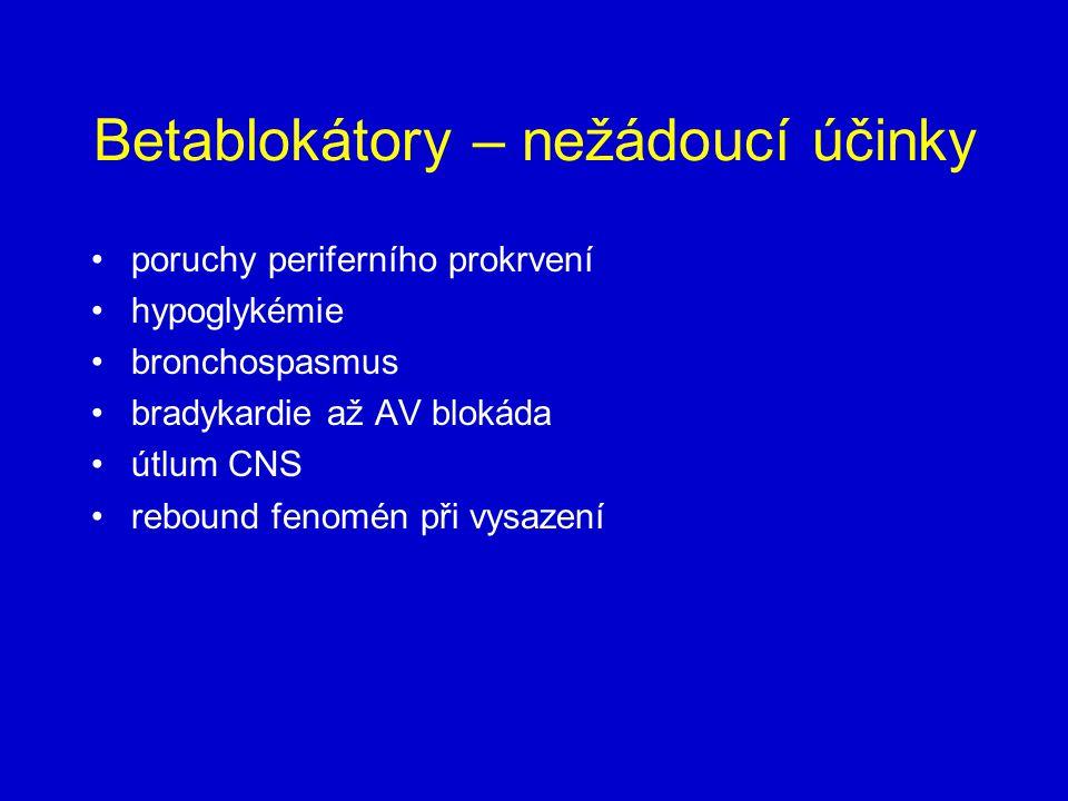 Betablokátory – nežádoucí účinky poruchy periferního prokrvení hypoglykémie bronchospasmus bradykardie až AV blokáda útlum CNS rebound fenomén při vysazení