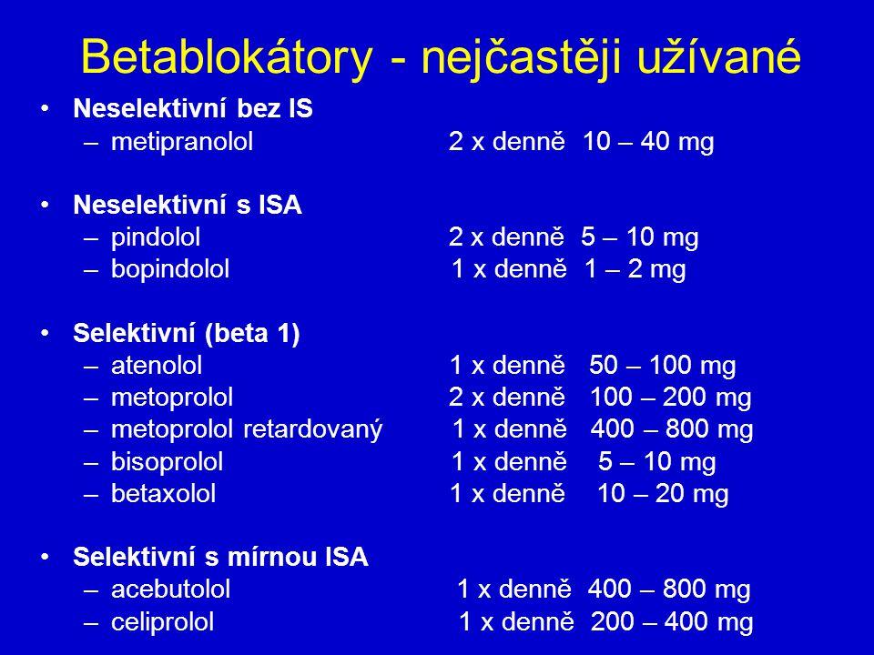 Betablokátory - nejčastěji užívané Neselektivní bez IS –metipranolol 2 x denně 10 – 40 mg Neselektivní s ISA –pindolol 2 x denně 5 – 10 mg –bopindolol 1 x denně 1 – 2 mg Selektivní (beta 1) –atenolol 1 x denně 50 – 100 mg –metoprolol 2 x denně 100 – 200 mg –metoprolol retardovaný 1 x denně 400 – 800 mg –bisoprolol 1 x denně 5 – 10 mg –betaxolol 1 x denně 10 – 20 mg Selektivní s mírnou ISA –acebutolol 1 x denně 400 – 800 mg –celiprolol 1 x denně 200 – 400 mg
