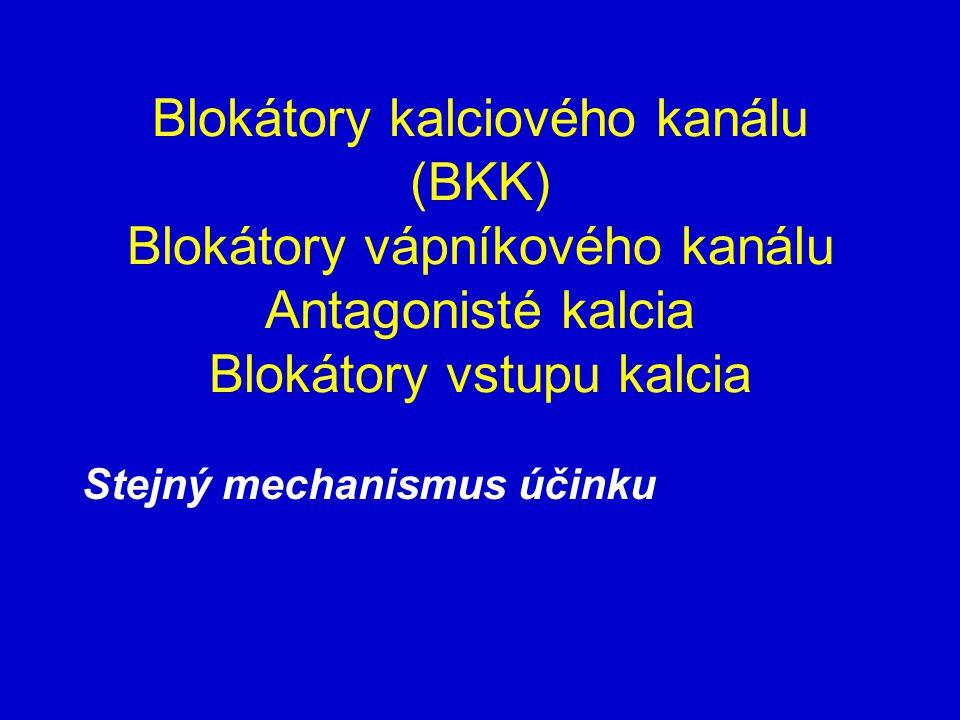 Blokátory kalciového kanálu (BKK) Blokátory vápníkového kanálu Antagonisté kalcia Blokátory vstupu kalcia Stejný mechanismus účinku