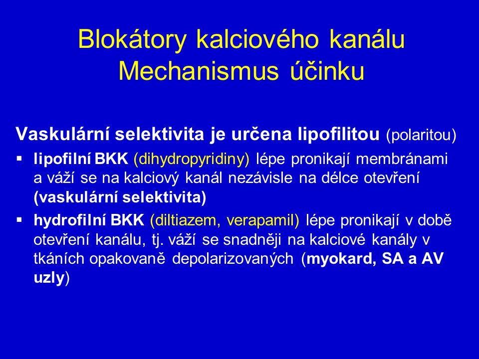 Blokátory kalciového kanálu Mechanismus účinku Vaskulární selektivita je určena lipofilitou (polaritou)  lipofilní BKK (dihydropyridiny) lépe pronikají membránami a váží se na kalciový kanál nezávisle na délce otevření (vaskulární selektivita)  hydrofilní BKK (diltiazem, verapamil) lépe pronikají v době otevření kanálu, tj.
