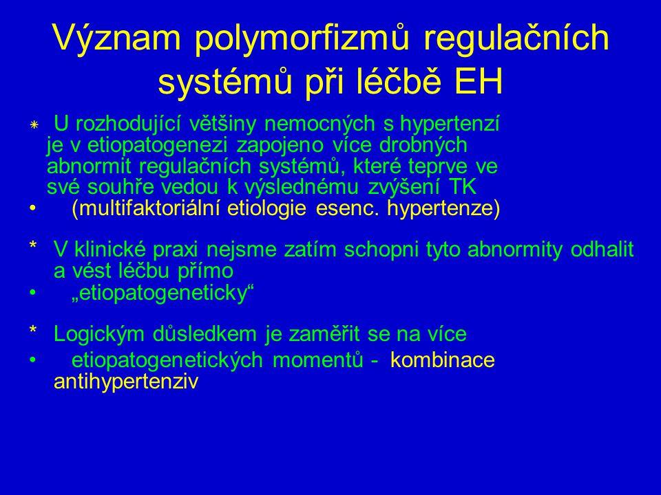 Význam polymorfizmů regulačních systémů při léčbě EH * U rozhodující většiny nemocných s hypertenzí je v etiopatogenezi zapojeno více drobných abnormit regulačních systémů, které teprve ve své souhře vedou k výslednému zvýšení TK (multifaktoriální etiologie esenc.