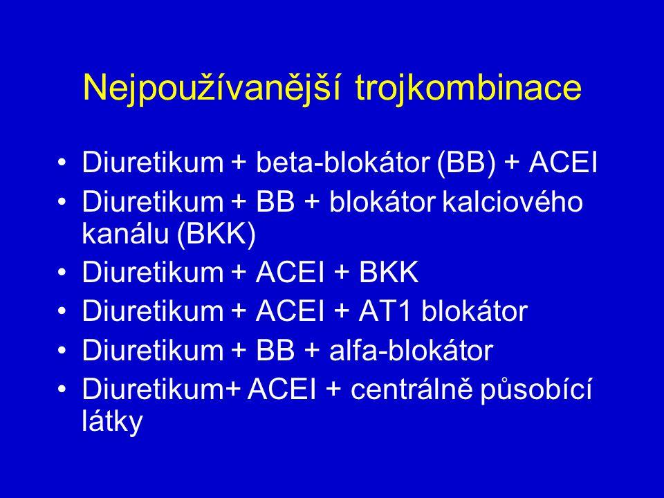 Nejpoužívanější trojkombinace Diuretikum + beta-blokátor (BB) + ACEI Diuretikum + BB + blokátor kalciového kanálu (BKK) Diuretikum + ACEI + BKK Diuretikum + ACEI + AT1 blokátor Diuretikum + BB + alfa-blokátor Diuretikum+ ACEI + centrálně působící látky
