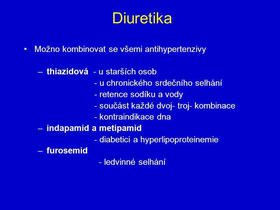 Diuretika Možno kombinovat se všemi antihypertenzivy –thiazidová - u starších osob - u chronického srdečního selhání - retence sodíku a vody - součást každé dvoj- troj- kombinace - kontraindikace dna –indapamid a metipamid - diabetici a hyperlipoproteinemie –furosemid - ledvinné selhání