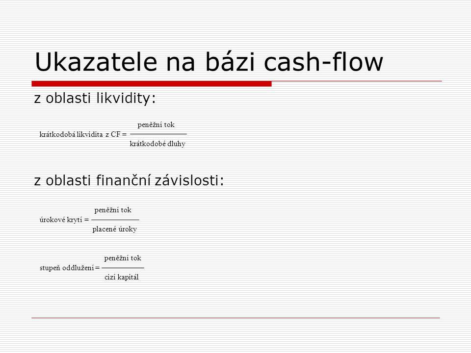 Ukazatele na bázi cash-flow z oblasti likvidity: z oblasti finanční závislosti: peněžní tok krátkodobá likvidita z CF = krátkodobé dluhy peněžní tok ú