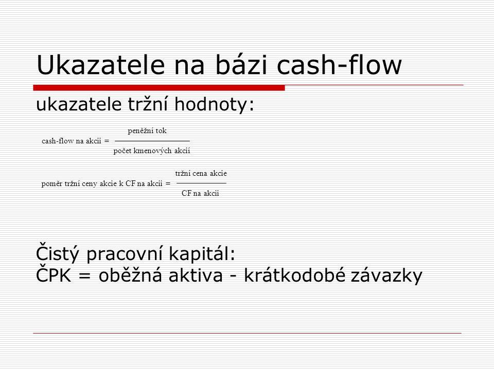Ukazatele na bázi cash-flow ukazatele tržní hodnoty: Čistý pracovní kapitál: ČPK = oběžná aktiva - krátkodobé závazky peněžní tok cash-flow na akcii =