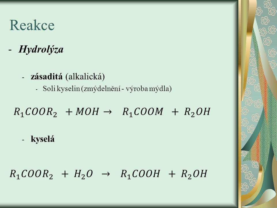 Reakce -Hydrolýza - zásaditá (alkalická) - Soli kyselin (zmýdelnění - výroba mýdla) - kyselá