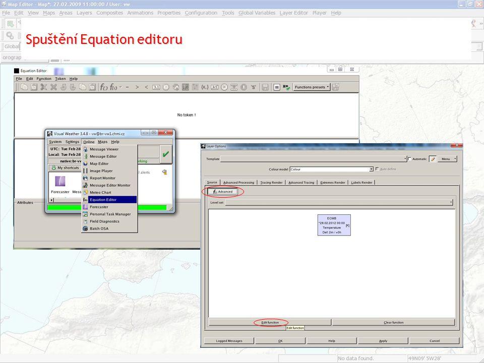 Spuštění Equation editoru