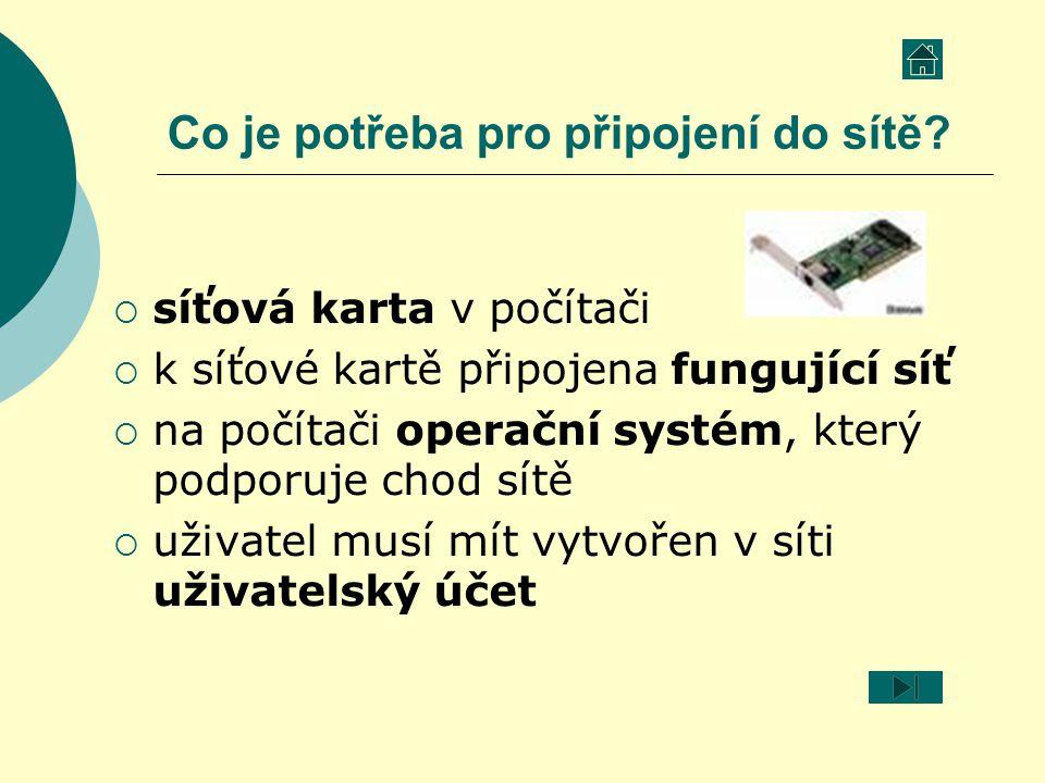 Co je potřeba pro připojení do sítě?  síťová karta v počítači  k síťové kartě připojena fungující síť  na počítači operační systém, který podporuje